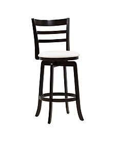 Corliving Wood Barstool with Leatherette Seat and 3-Slat Backrest