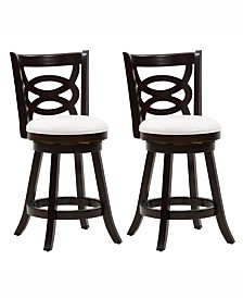 Corliving Counter Height Wood Barstools with Leatherette Seat and Circular Design, Set of 2