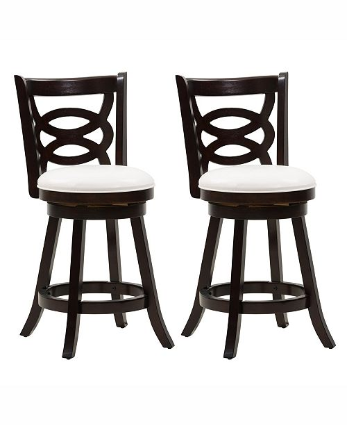 Corliving Distribution Corliving Counter Height Wood Barstools with Leatherette Seat and Circular Design, Set of 2
