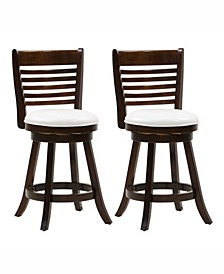 Counter Height Wood Barstools with Leatherette Seat and 6-Slat Backrest, Set of 2