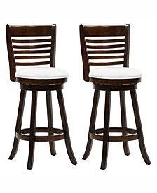 Wood Barstools with Leatherette Seat and 6-Slat Backrest, Set of 2