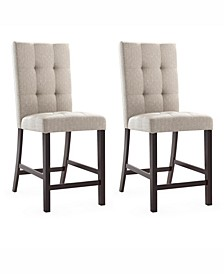 Bistro Counter Height Dining Chairs in Tufted Platinum Sage Fabric, Set of 2