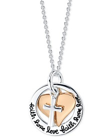 "Unwritten Faith, Hope & Love 18"" Pendant Necklace in Sterling Silver &  Rose Gold-Flash Plated Sterling Silver"