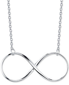 "Unwritten Open Infinity 18"" Pendant Necklace in Sterling Silver"