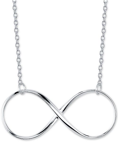 "Unwritten Open Infinity 18"" Pendant Necklace in Sterling Silver"