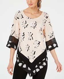 Alfani Printed Crochet-Trim V-Hem Top, Created For Macy's