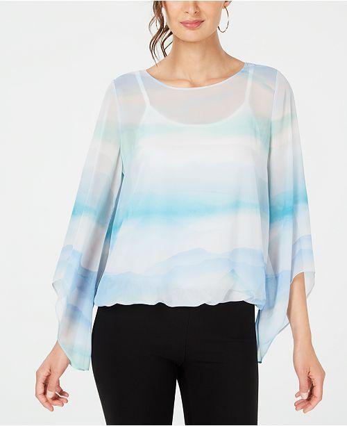 Alfani Printed Angel-Sleeve Bubble-Hem Blouse, Created for Macy's