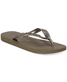 Women's Top Logo Metallic Flip-Flop Sandals