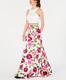 Juniors' 2-Pc. Lace Floral-Print Gown