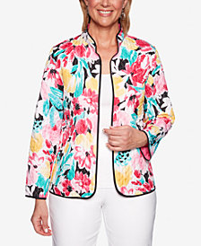 Alfred Dunner Classic Quilted Floral-Print Jacket