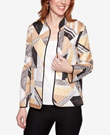 Alfred Dunner Classics Geo-Print Quilted Jacket