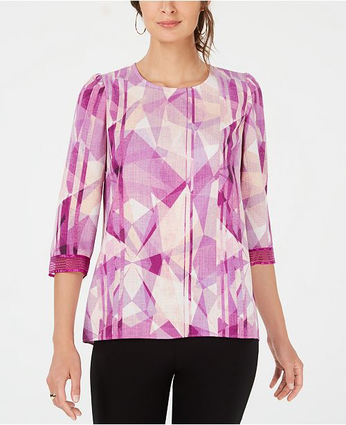 Alfani Illusion-Trimmed Printed Top, Created for Macy's