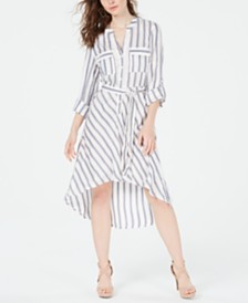GUESS Zaylee Striped High-Low Shirtdress