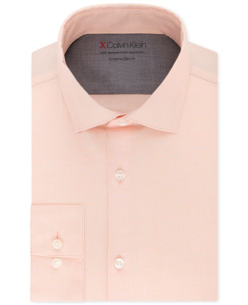 Calvin Klein X Men's Extra-Slim Fit Temperature Regulating Stretch Solid Dress Shirt