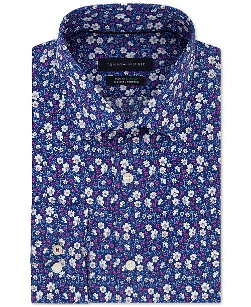 3c9dc76c1 ... Dress Shirt; Tommy Hilfiger Men's Slim-Fit THFlex Supima® Stretch  Non-Iron Floral ...