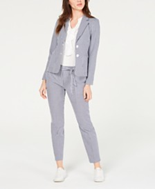 Nine West Gingham Jacket & Belted Pants
