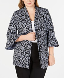 Nine West Plus Size Floral-Print Bell-Sleeve Jacket
