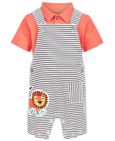 First Impressions Baby Boys 2-Pc. Woven Shirt & Lion Shortall Set, Created for Macy's