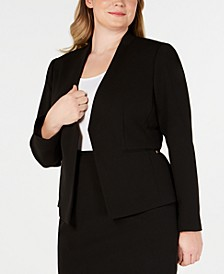 Plus Size Open-Front Soft Crepe Blazer
