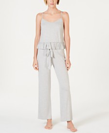 I.N.C. Ruffled Founce Top and Pajama Pants Sleep Separates, Created for Macy's