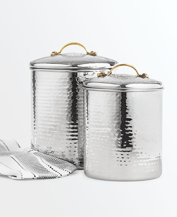 Martha Stewart Collection Hammered Stainless Steel Canisters, Set of 2, Created for Macy's