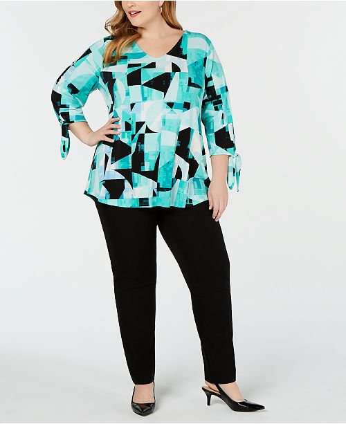 Alfani Plus Size Knit Printed Tie-Sleeve Top, Created for Macy's