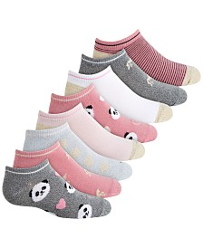 Planet Sox Toddler, Little & Big Girls 8-Pack Panda & Hearts No-Show Socks