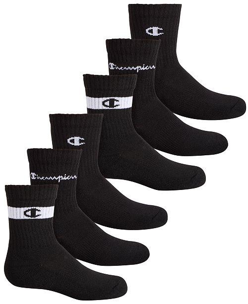 Champion Big Boys 6-Pack Logo Crew Socks