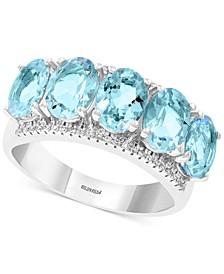 EFFY® Aquamarine (3-9/10 ct. t.w.) & Diamond (1/8 ct. t.w.) Statement Ring in 14k White Gold