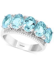 EFFY® Aquamarine (3-9/10 ct. t.w.) & Diamond (1/8 ct. t.w.) Statement Ring in 14k White Gold