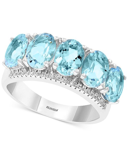 EFFY Collection EFFY® Aquamarine (3-9/10 ct. t.w.) & Diamond (1/8 ct. t.w.) Statement Ring in 14k White Gold