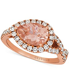 Peach Morganite (1-1/3 ct. t.w.) & Nude Diamond (5/8 ct. t.w.) Ring in 14k Rose Gold