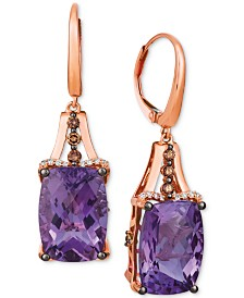 Le Vian® Grape Amethyst (12 ct. t.w.) & Diamond (3/8 ct. t.w.) Drop Earrings in 14k Rose Gold
