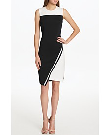 Tommy Hilfiger Petite Scuba Asymmetrical Hem Sheath Dress