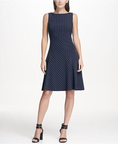 bdae842e1d ... DKNY Pinstripe Fit an Flare Dress
