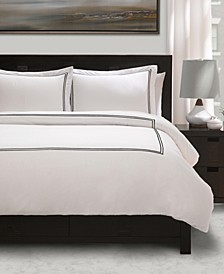 100% Cotton Percale 3 Piece Duvet Set with Satin Stitching - Full/Queen
