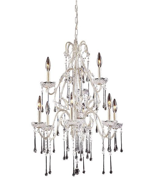 ELK Lighting Opulence Collection - 9 Light Clear Crystals Antique White Frame