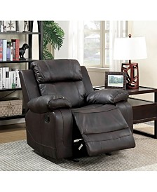 Benzara Leather Upholstered Glider Recliner Chair