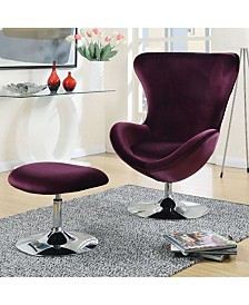 Benzara Contemporary Chair with Ottoman