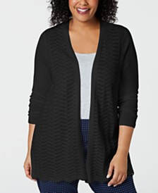 Charter Club Plus Size Open-Front Cardigan Sweater, Created for Macy's