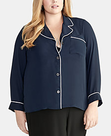 RACHEL Rachel Roy Trendy Plus Size Nova Piped-Trim Shirt