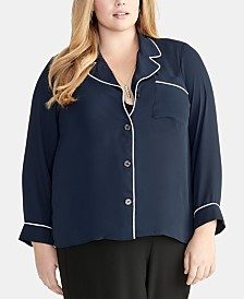 RACHEL Rachel Roy Trendy Plus Size Nova Piped-Trim Shirt