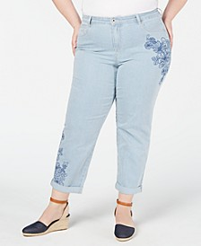 Plus Size Curvy Embroidered Ex-Boyfriend Jeans, Created for Macy's