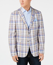 Tallia Orange Men's Slim-Fit Tan/Blue Madras Plaid Linen Sport Coat