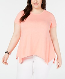 Style & Co Plus Size Cotton Handkerchief-Hem Knit Top, Created for Macy's