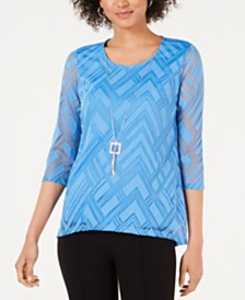 JM Collection Petite Sheer-Overlay Removable-Necklace Top, Created for Macy's