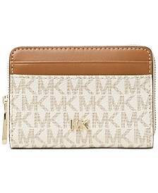 MICHAEL Michael Kors Zip Around Bicolor Signature Card Case