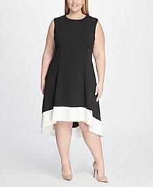 Tommy Hilfiger Plus Size Hi-Low Colorblock Dress