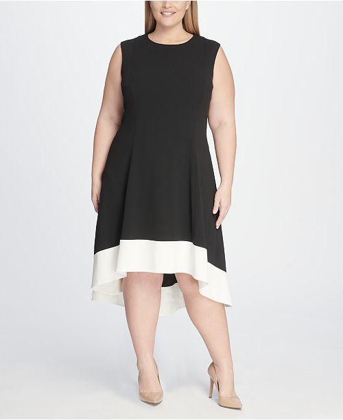 Tommy Hilfiger Plus Size Hi-Low Colorblock Dress & Reviews ...