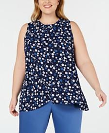 Anne Klein Plus Size Haviland-Print Sleeveless Top